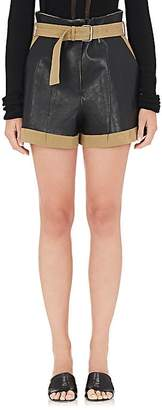 Maison Margiela Women's Leather-Appliquéd Linen-Cotton Shorts