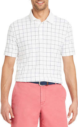 Izod Interlock Easy Care Short Sleeve Grid Polo Shirt