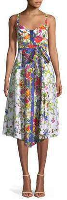 Milly Floral Sleeveless Bustier Midi Dress