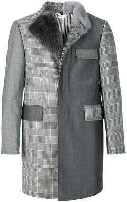 Thom Browne Fun-Mixed Fur Collar And Lapel Classic Chesterfield Overcoat