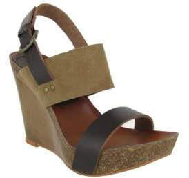 Mia Foxy Leather Slingback Wedge Sandals