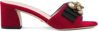 Gucci Velvet mid-heel slide with bee