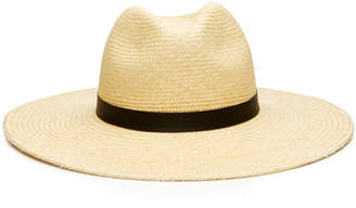 Janessa Leone Gloria Leather-Trimmed Panama Hat