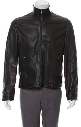 Armani Collezioni Funnel Neck Leather Jacket
