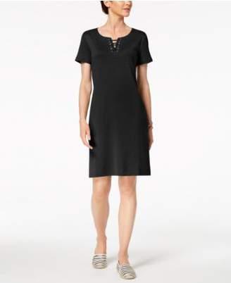 Karen Scott Lace-Up Shift Dress, Created for Macy's