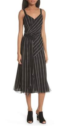 Jason Wu GREY Painterly Stripe Ruffle Silk Dress
