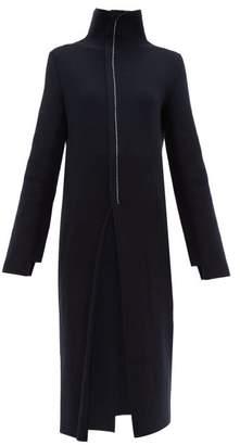 Jil Sander High Neck Wool Blend Midi Dress - Womens - Navy