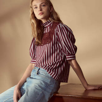 Sandro Striped top with tie and puff sleeves