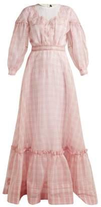 Calvin Klein Checked Silk Organza Gown - Womens - Pink
