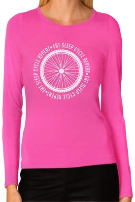 7b81c6955 IDEA Tstars Cycling Bike Eat Sleep Cycle Repeat Women Long Sleeve T-Shirt