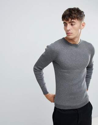 Esprit Rib Knit Muscle Fit Jumper In Grey