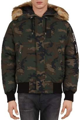 The Kooples Camo Puffa Down Coat with Faux-Fur-Trimmed Hood