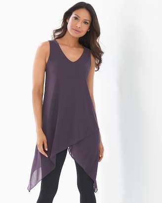 Soft Jersey Layered Mesh Asymmetrical Hem Tunic Nightshade