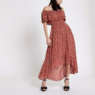 River Island Womens Brown polka dot bardot maxi dress
