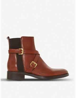 Dune Black Palme cross-strap leather chelsea boots