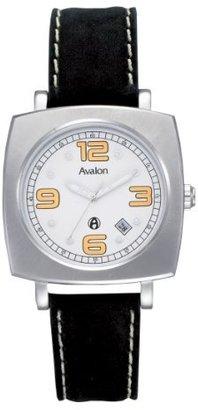 Avalon Men 'sステンレススチールBarrel Retro耐水性ブラックストラップ腕時計# 8623