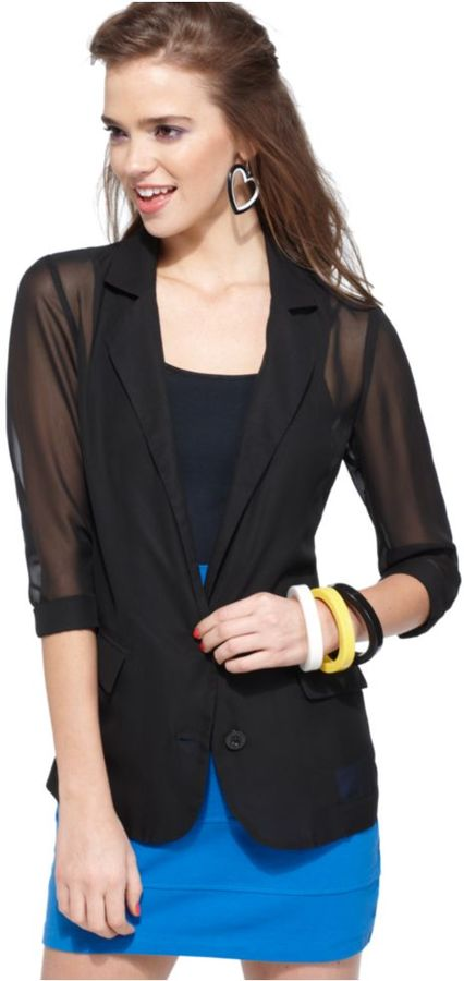 Material Girl Jacket, Three Quarter Sleeve Chiffon Blazer