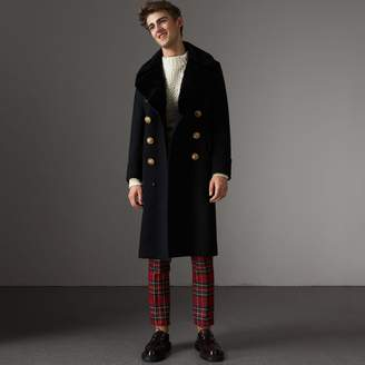 Burberry Detachable Mink Collar Cashmere Wool Greatcoat