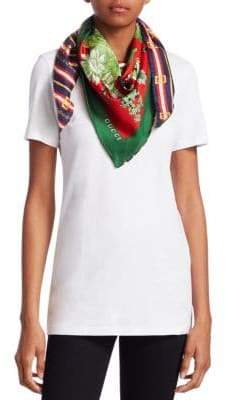 Gucci Women's Silk Spring Bouquet Square Scarf - Blue Green