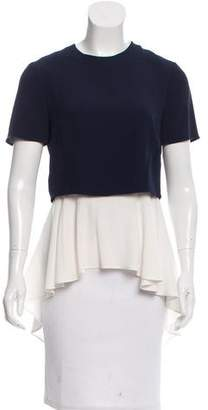 Alexander McQueen Short Sleeve Scoop Neck Top