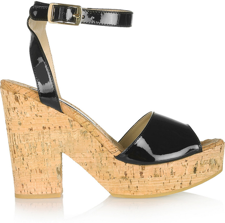 Stella McCartney Glossed faux patent-leather and cork sandals