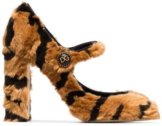 Dolce & Gabbana 100 Faux Fur Mary Jane Pumps