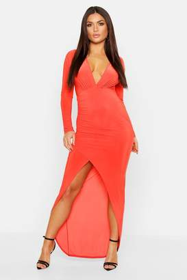 boohoo Wrap Detail Long Sleeve Maxi Dress