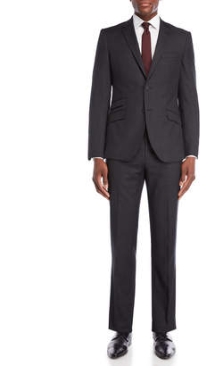 English Laundry Two-Piece Black Pindot Wool Suit