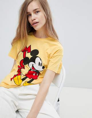 Pull&Bear mickey mouse tshirt in yellow
