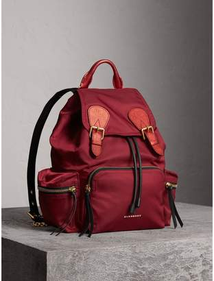 Burberry The Medium Rucksack in Technical Nylon and Leather, Red