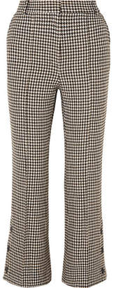 Rokh - Cropped Houndstooth Tweed Flared Pants - Gray
