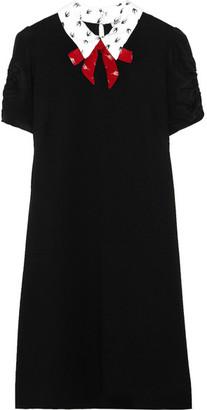 Miu Miu - Printed Silk Crepe De Chine-trimmed Stretch-jersey Mini Dress - Black