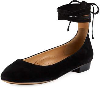 Neiman Marcus Cherie Suede Ankle-Wrap Flat, Black