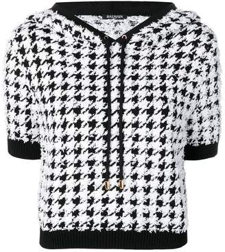 Balmain houndstooth print hooded top