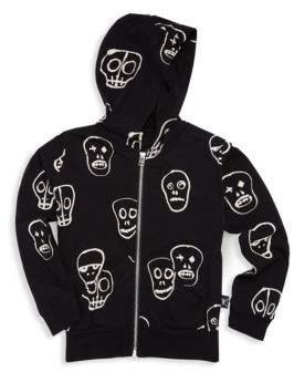 Nununu Boy's & Girl's Zip-Up Cotton Skull Hoodie