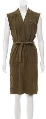 SET Leather Knee-Length Dress