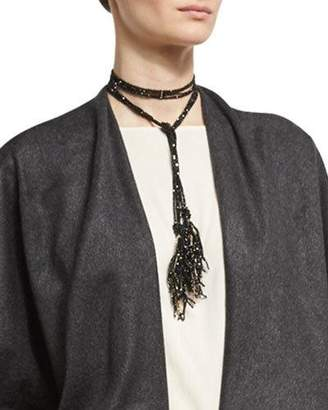 Brunello Cucinelli Agate & Monili Beaded Tassel Lariat Necklace, Black/Gold