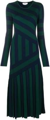 DAY Birger et Mikkelsen Gabriela Hearst diagonal stripe plisse dress