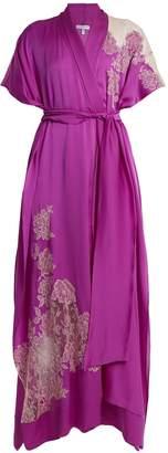 Carine Gilson Lace-appliqué silk-satin kimono robe