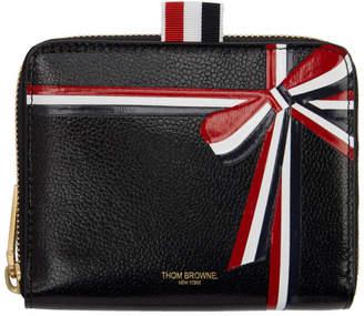 Thom Browne Black Short Intarsia Bow Zip Wallet