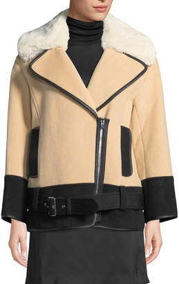 Club Monaco Rismah Zip-Front Wool Coat with Faux-Fur Collar