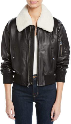 Derek Lam 10 Crosby Cropped Leather Flight Jacket w/ Faux Shearling Collar