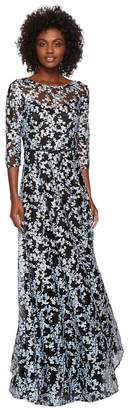 Tahari ASL Novelty Embroidery Illusion Neck 1/2 Sleeve Dress Women's Dress