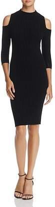 AQUA Cold-Shoulder Ribbed Cashmere Dress - 100% Exclusive $198 thestylecure.com