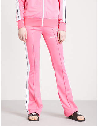Palm Angels Side-stripe flared jersey jogging bottoms