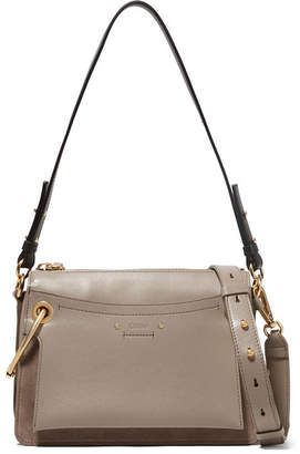 Chloé Roy Small Leather And Suede Shoulder Bag - Gray