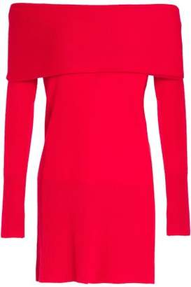 Halston Off-The-Shoulder Layered Cashmere Sweater