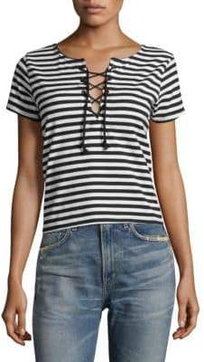 Mother Striped Cotton Crop Top