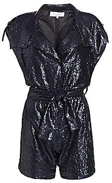 Carolina Ritzler Women's Allover Sequin Shirt Romper