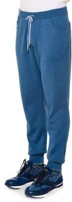 Stefano Ricci Drawstring Knit Sweatpants, Blue $2,750 thestylecure.com